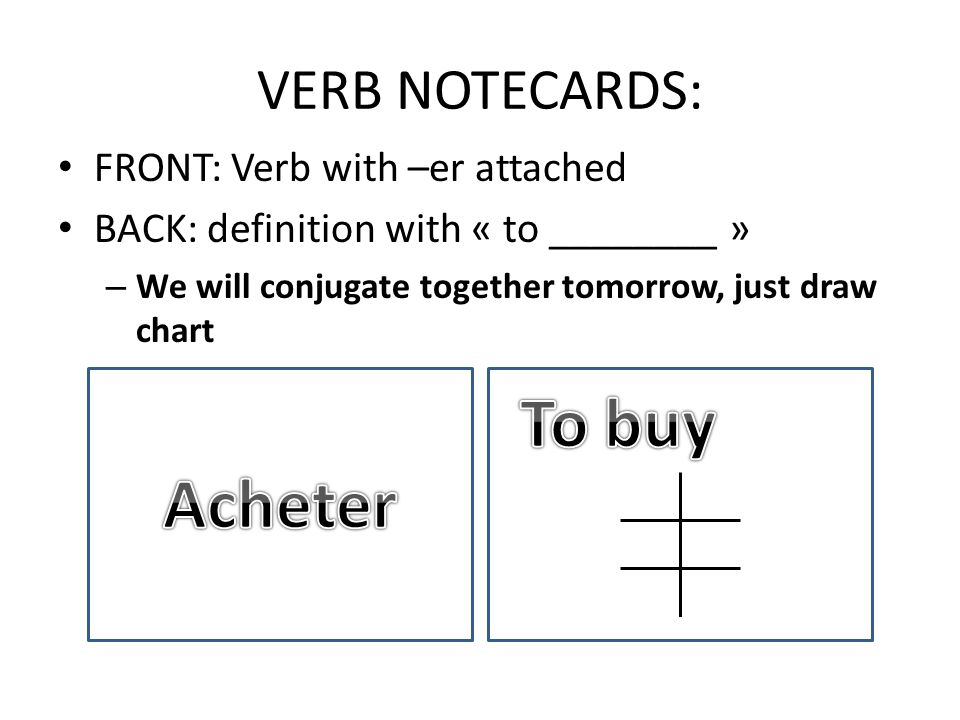 VERB NOTECARDS: FRONT: Verb with –er attached BACK: definition with « to ________ » – We will conjugate together tomorrow, just draw chart