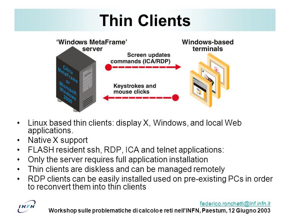 federico.ronchetti@lnf.infn.it Workshop sulle problematiche di calcolo e reti nell'INFN, Paestum, 12 Giugno 2003 Thin Clients Linux based thin clients