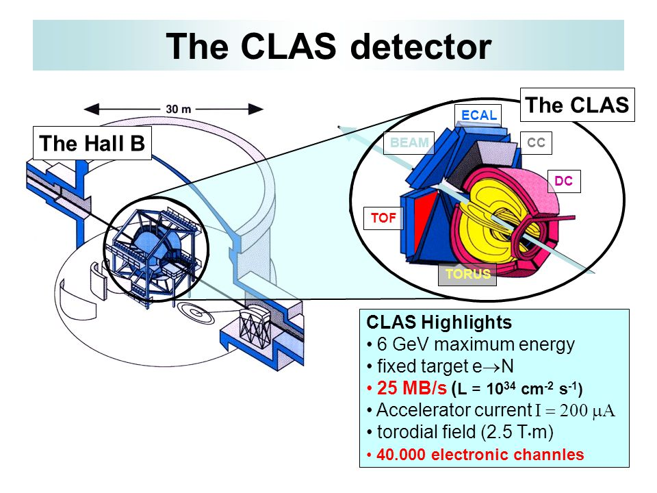 TOF DC CC TORUS The Hall B The CLAS detector The CLAS CLAS Highlights 6 GeV maximum energy fixed target e  N 25 MB/s ( L = 10 34 cm -2 s -1 ) Accelerator current  torodial field (2.5 T m) 40.000 electronic channles BEAM ECAL