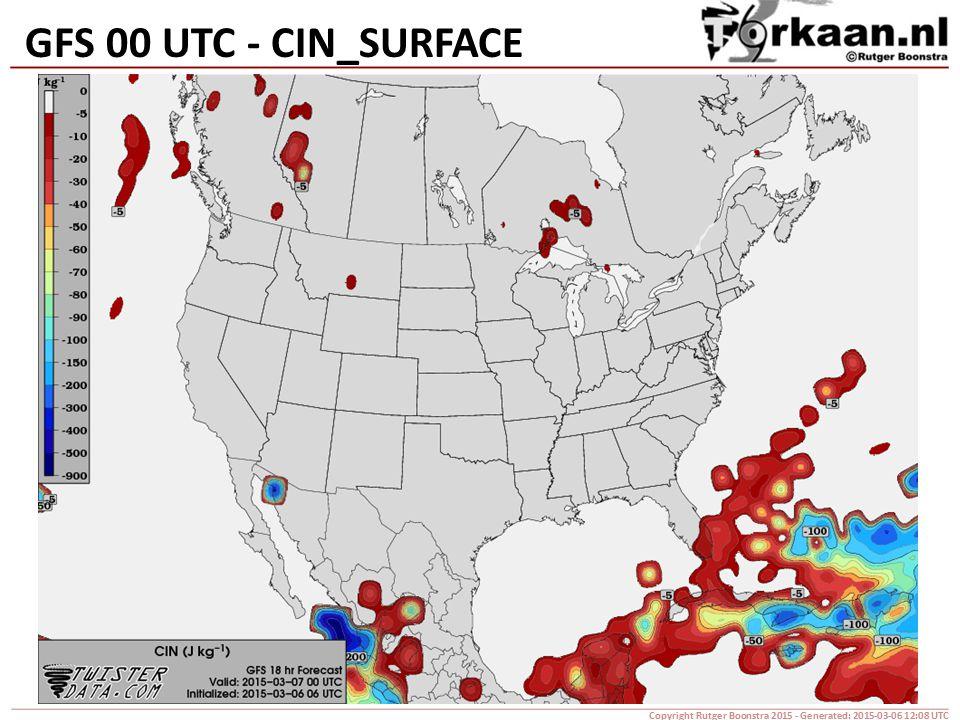 GFS 00 UTC - CIN_SURFACE Copyright Rutger Boonstra 2015 - Generated: 2015-03-06 12:08 UTC