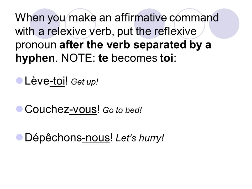 When you make an affirmative command with a relexive verb, put the reflexive pronoun after the verb separated by a hyphen.