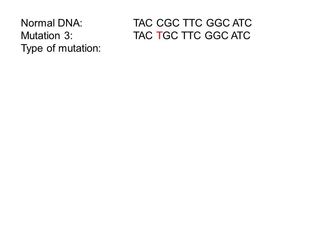 Normal DNA: TAC CGC TTC GGC ATC Mutation 3:TAC TGC TTC GGC ATC Type of mutation: