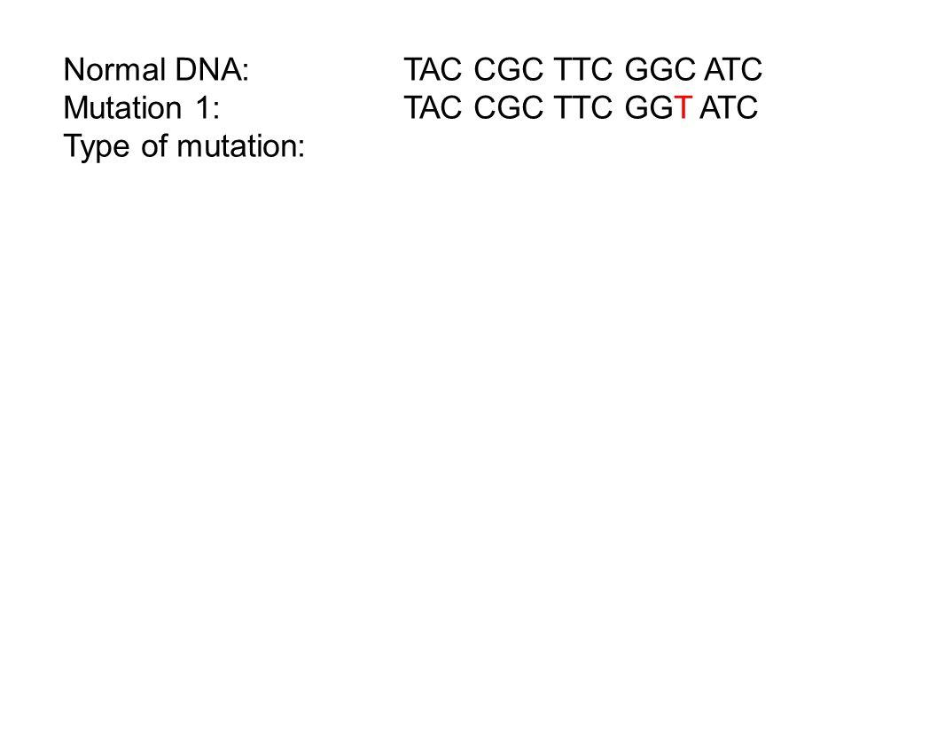 Normal DNA: TAC CGC TTC GGC ATC Mutation 1:TAC CGC TTC GGT ATC Type of mutation:
