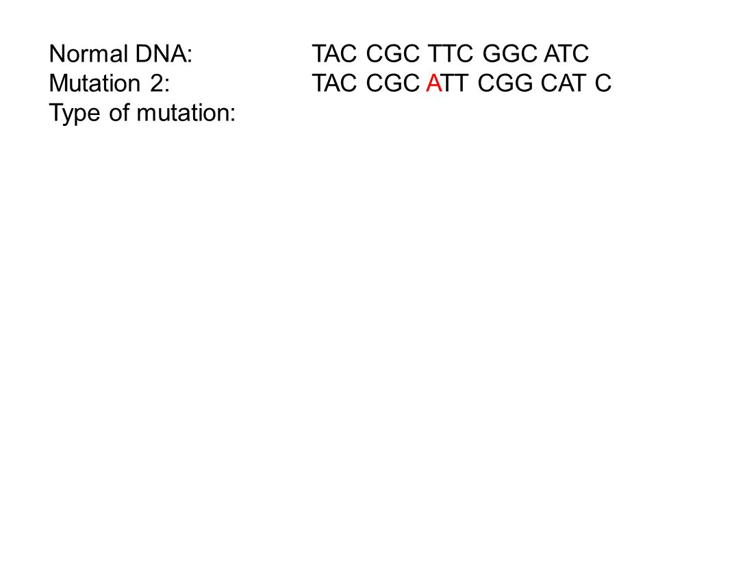 Normal DNA: TAC CGC TTC GGC ATC Mutation 2:TAC CGC ATT CGG CAT C Type of mutation: