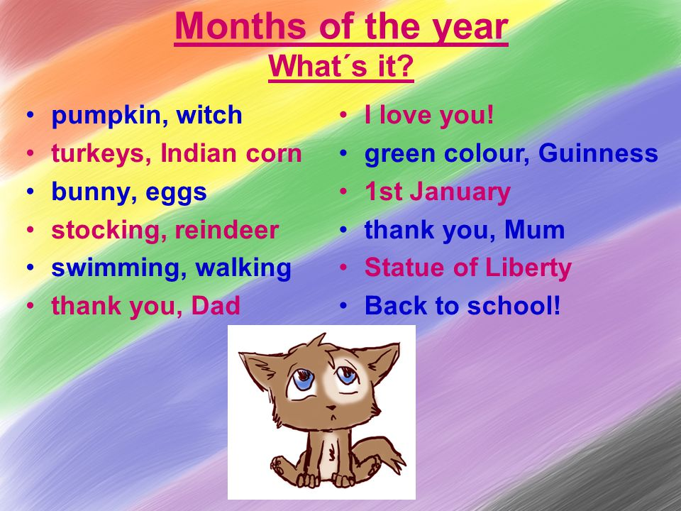 Months of the year What´s it.