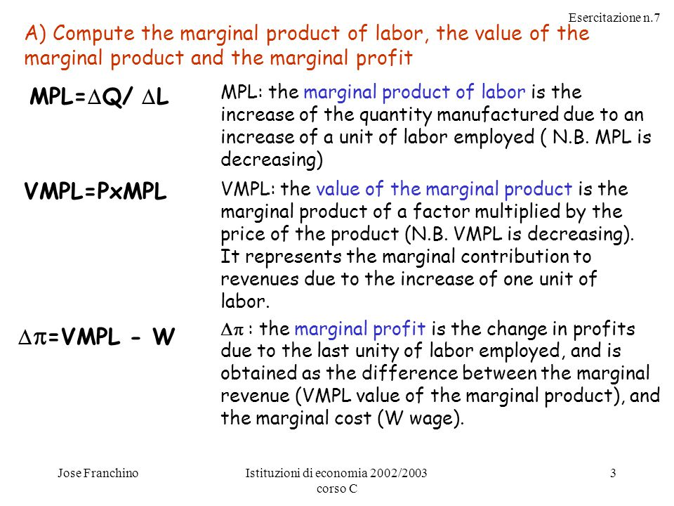 Esercitazione n.7 Jose FranchinoIstituzioni di economia 2002/2003 corso C 3 A) Compute the marginal product of labor, the value of the marginal product and the marginal profit MPL: the marginal product of labor is the increase of the quantity manufactured due to an increase of a unit of labor employed ( N.B.