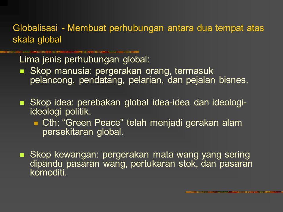 GLOBALISASI (Mohd Taib Osman, 2004) Jaringan hubungan manusia sejagat yang melampaui batasan, bukan shj sempadan fizikal spt politik, tetapi juga bukan fizikal spt idea atau muzik.