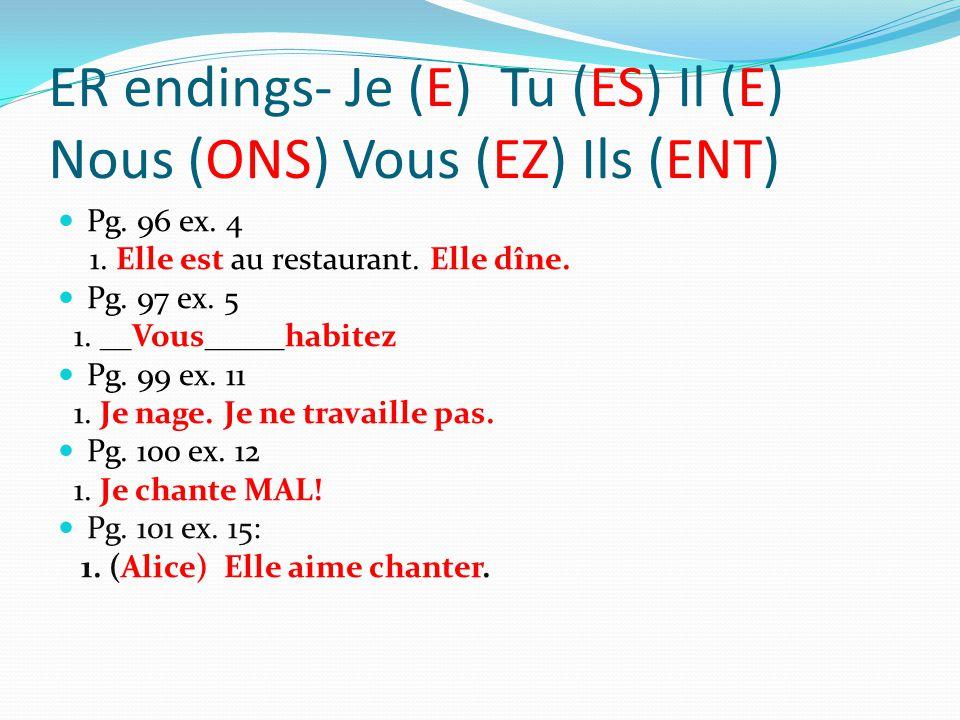 ER endings- Je (E) Tu (ES) Il (E) Nous (ONS) Vous (EZ) Ils (ENT) Pg.