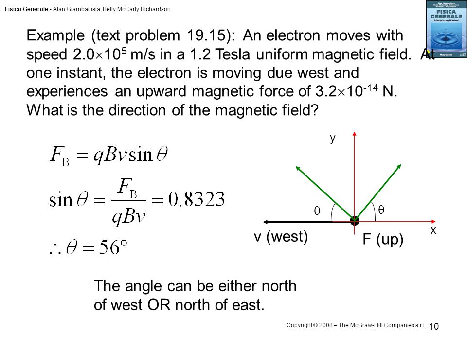 Fisica Generale - Alan Giambattista, Betty McCarty Richardson Copyright © 2008 – The McGraw-Hill Companies s.r.l. 10 Example (text problem 19.15): An