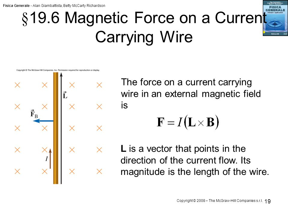 Fisica Generale - Alan Giambattista, Betty McCarty Richardson Copyright © 2008 – The McGraw-Hill Companies s.r.l. 19 § 19.6 Magnetic Force on a Curren
