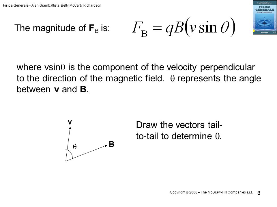 Fisica Generale - Alan Giambattista, Betty McCarty Richardson Copyright © 2008 – The McGraw-Hill Companies s.r.l. 8 The magnitude of F B is: where vsi