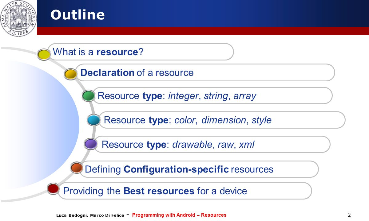 Luca Bedogni, Marco Di Felice - Programming with Android – Resources 2 Outline Defining Configuration-specific resources Resource type: drawable, raw, xml Resource type: color, dimension, style Resource type: integer, string, array Declaration of a resource What is a resource.