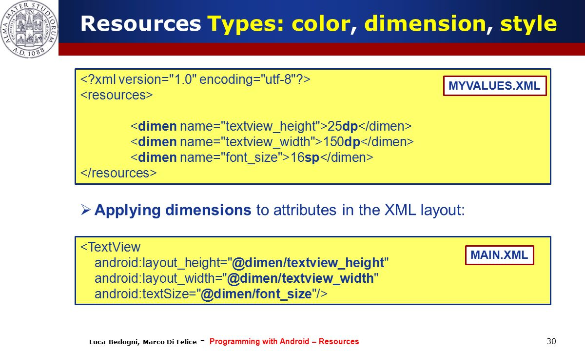Luca Bedogni, Marco Di Felice - Programming with Android – Resources 30 25dp 150dp 16sp MYVALUES.XML Resources Types: color, dimension, style <TextView android:layout_height= @dimen/textview_height android:layout_width= @dimen/textview_width android:textSize= @dimen/font_size /> MAIN.XML  Applying dimensions to attributes in the XML layout: