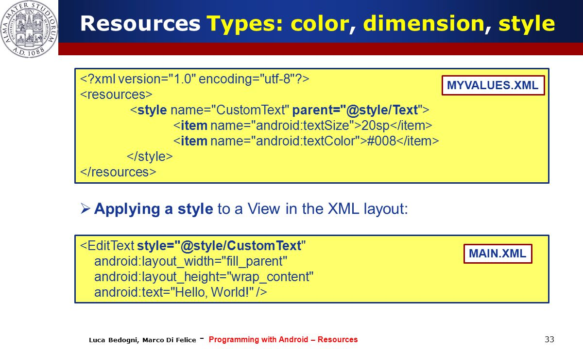 Luca Bedogni, Marco Di Felice - Programming with Android – Resources 33 20sp #008 MYVALUES.XML Resources Types: color, dimension, style <EditText style= @style/CustomText android:layout_width= fill_parent android:layout_height= wrap_content android:text= Hello, World! /> MAIN.XML  Applying a style to a View in the XML layout:
