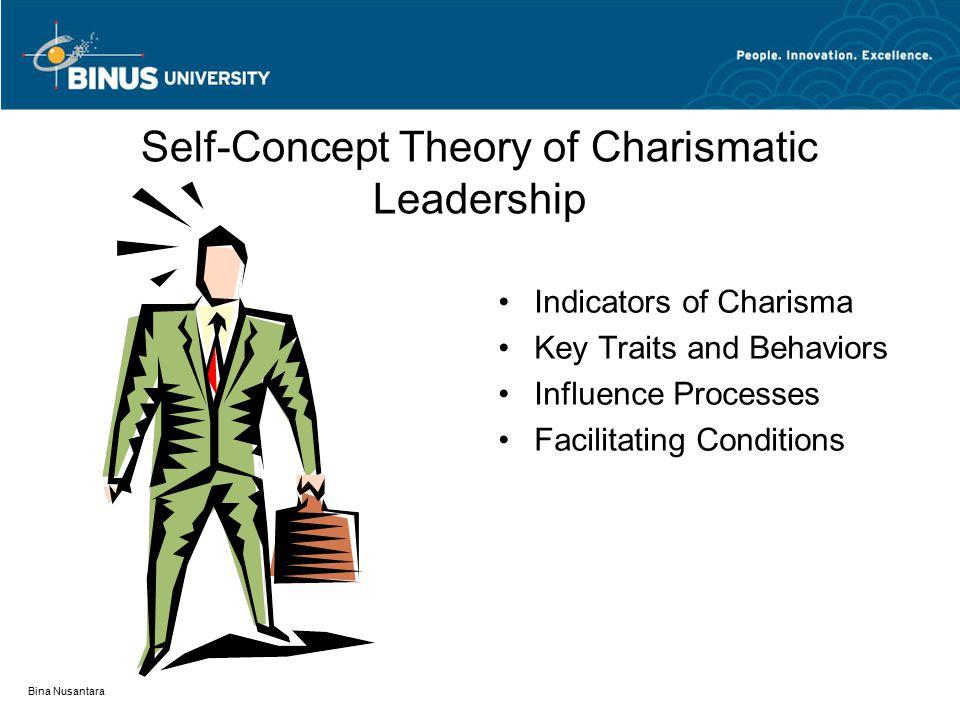 Bina Nusantara Self-Concept Theory of Charismatic Leadership Indicators of Charisma Key Traits and Behaviors Influence Processes Facilitating Conditions