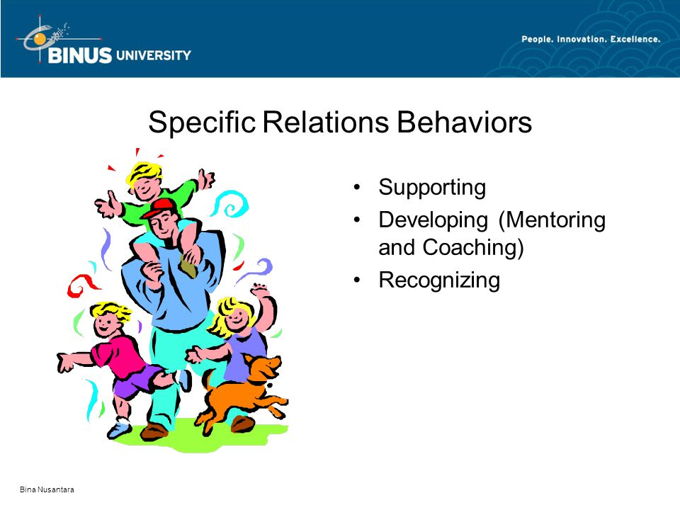 Bina Nusantara Specific Relations Behaviors Supporting Developing (Mentoring and Coaching) Recognizing