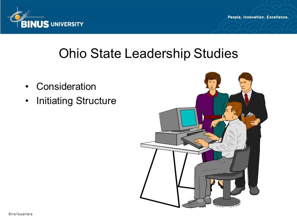 Bina Nusantara Michigan Leadership Studies Task-Oriented Behavior Relations-Oriented Behavior Participative Leadership