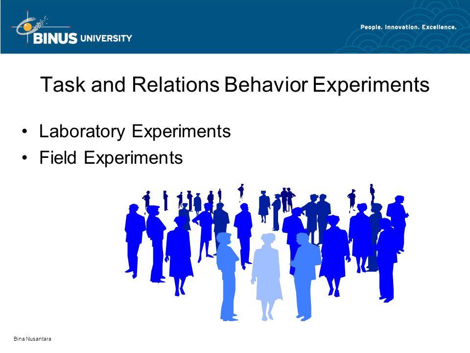 Bina Nusantara Task and Relations Behavior Experiments Laboratory Experiments Field Experiments