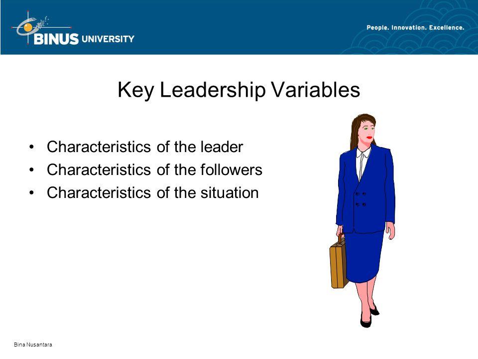 Bina Nusantara Key Leadership Variables Characteristics of the leader Characteristics of the followers Characteristics of the situation
