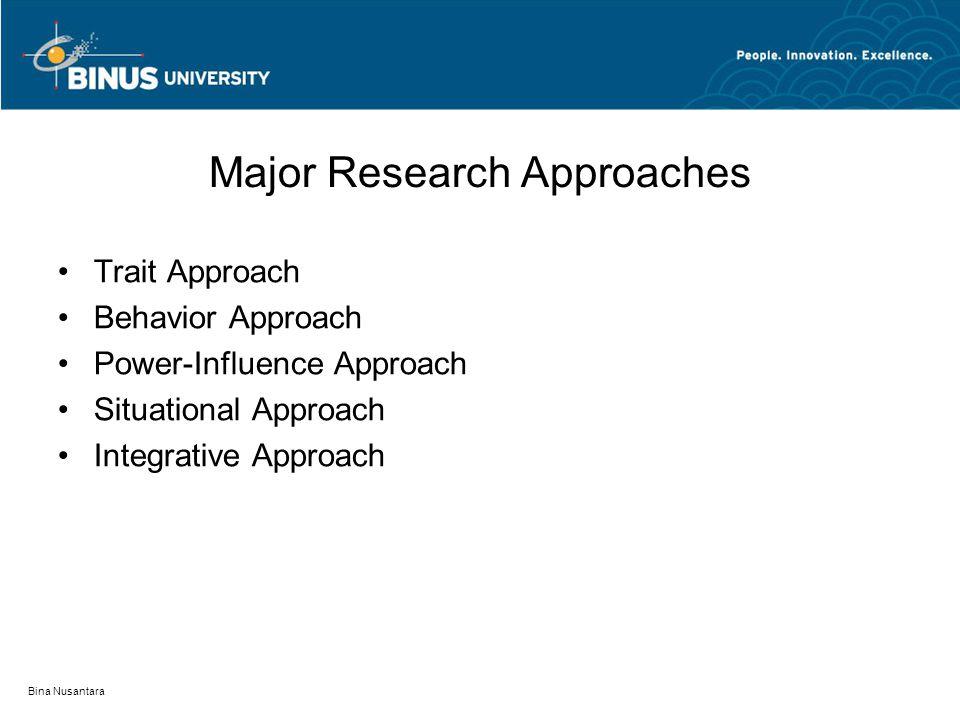 Bina Nusantara Major Research Approaches Trait Approach Behavior Approach Power-Influence Approach Situational Approach Integrative Approach
