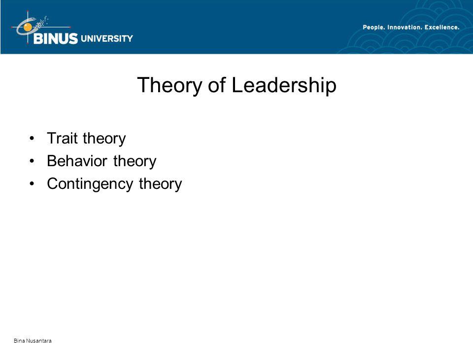 Bina Nusantara Theory of Leadership Trait theory Behavior theory Contingency theory