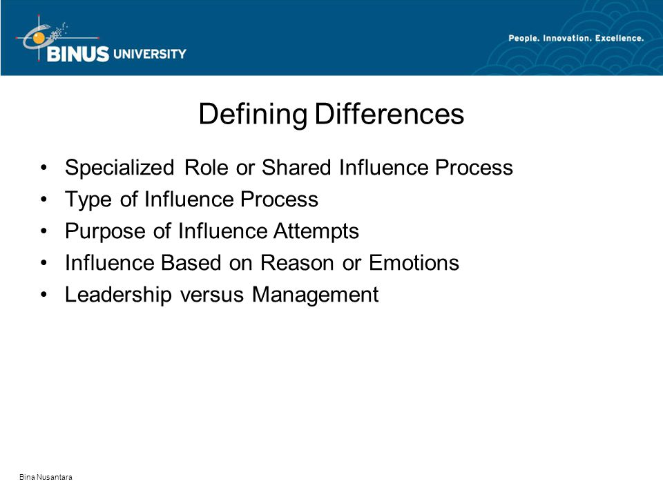 Bina Nusantara Defining Differences Specialized Role or Shared Influence Process Type of Influence Process Purpose of Influence Attempts Influence Based on Reason or Emotions Leadership versus Management