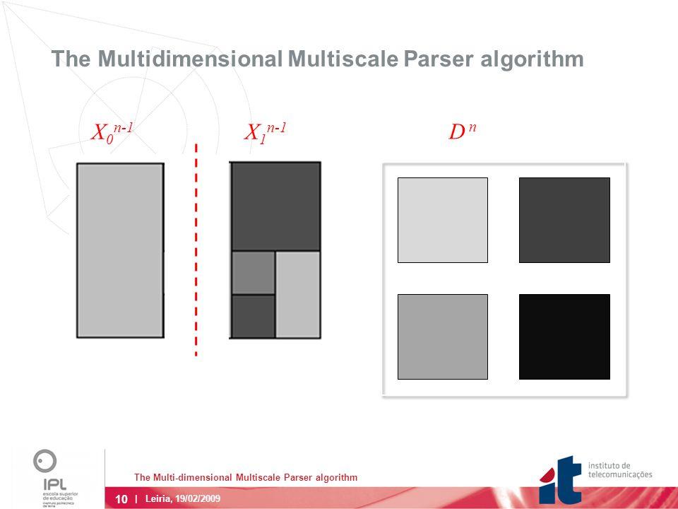 10 The Multi-dimensional Multiscale Parser algorithm | Leiria, 19/02/2009 The Multidimensional Multiscale Parser algorithm X 0 n-1 X 1 n-1 D n