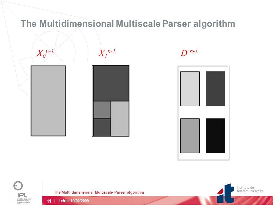 11 The Multi-dimensional Multiscale Parser algorithm | Leiria, 19/02/2009 The Multidimensional Multiscale Parser algorithm D n-1 X 0 n-1 X 1 n-1