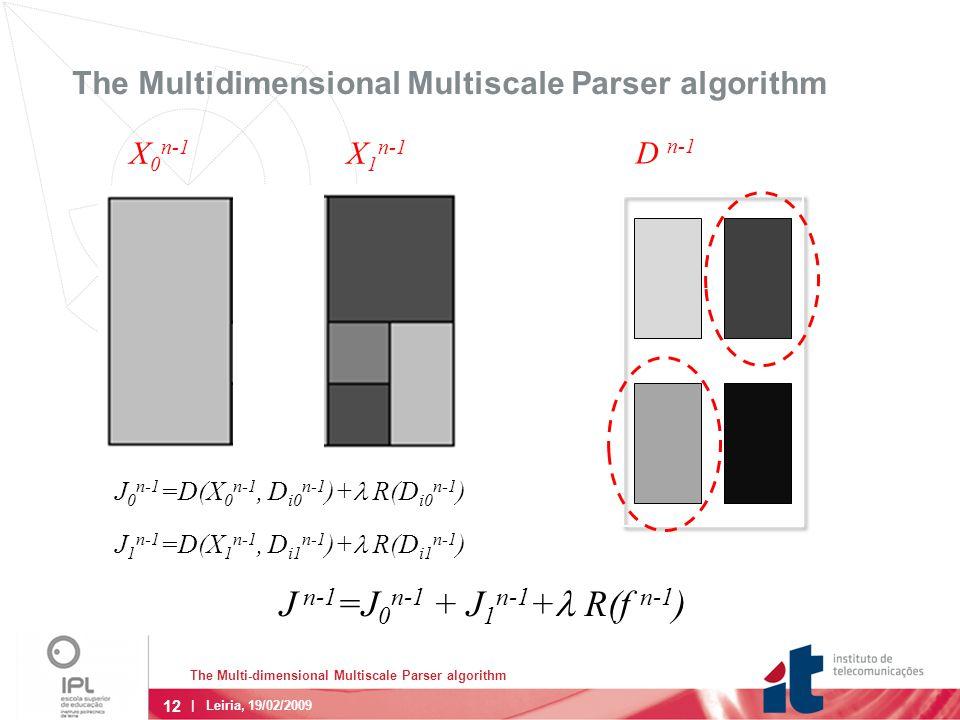12 The Multi-dimensional Multiscale Parser algorithm | Leiria, 19/02/2009 The Multidimensional Multiscale Parser algorithm D n-1 X 0 n-1 X 1 n-1 J 0 n-1 =D(X 0 n-1, D i0 n-1 )+  R(D i0 n-1 ) J 1 n-1 =D(X 1 n-1, D i1 n-1 )+  R(D i1 n-1 ) J n-1 =J 0 n-1 + J 1 n-1 +  R(f n-1 )