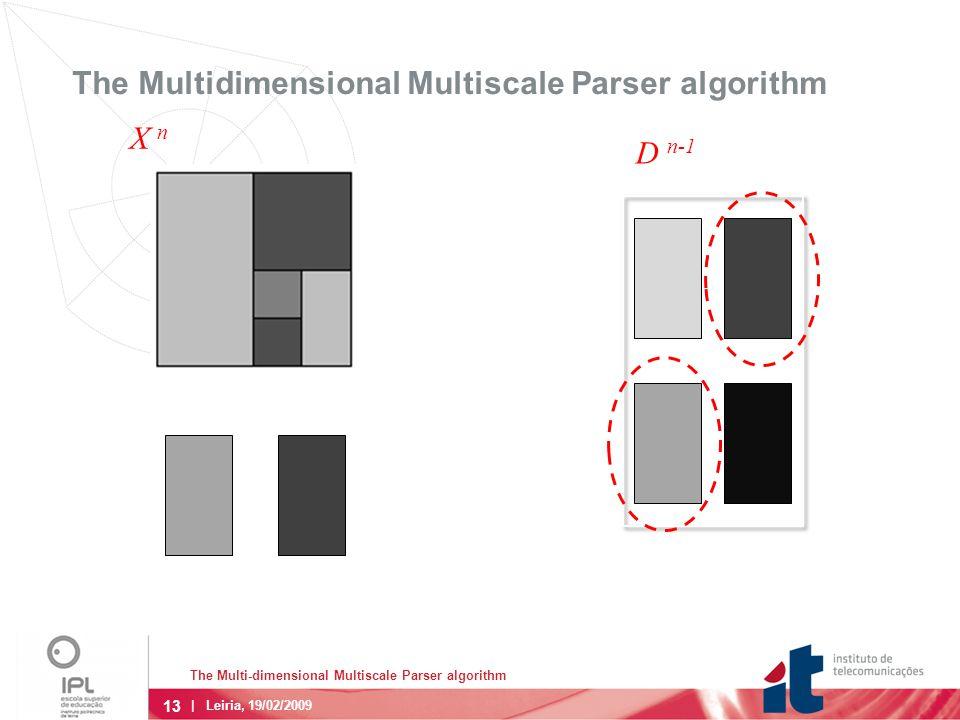 13 | Leiria, 19/02/2009 The Multidimensional Multiscale Parser algorithm D n-1 X n The Multi-dimensional Multiscale Parser algorithm