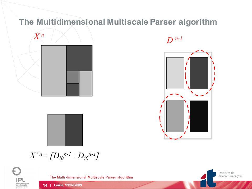 14 | Leiria, 19/02/2009 The Multidimensional Multiscale Parser algorithm D n-1 X' n = [D i0 n-1 : D i0 n-1 ] X n The Multi-dimensional Multiscale Parser algorithm