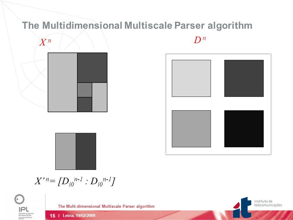 15 | Leiria, 19/02/2009 The Multidimensional Multiscale Parser algorithm X' n = [D i0 n-1 : D i0 n-1 ] X n D n The Multi-dimensional Multiscale Parser algorithm