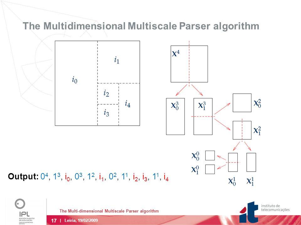 17 The Multi-dimensional Multiscale Parser algorithm | Leiria, 19/02/2009 The Multidimensional Multiscale Parser algorithm Output: 0 4, 1 3, i 0, 0 3, 1 2, i 1, 0 2, 1 1, i 2, i 3, 1 1, i 4