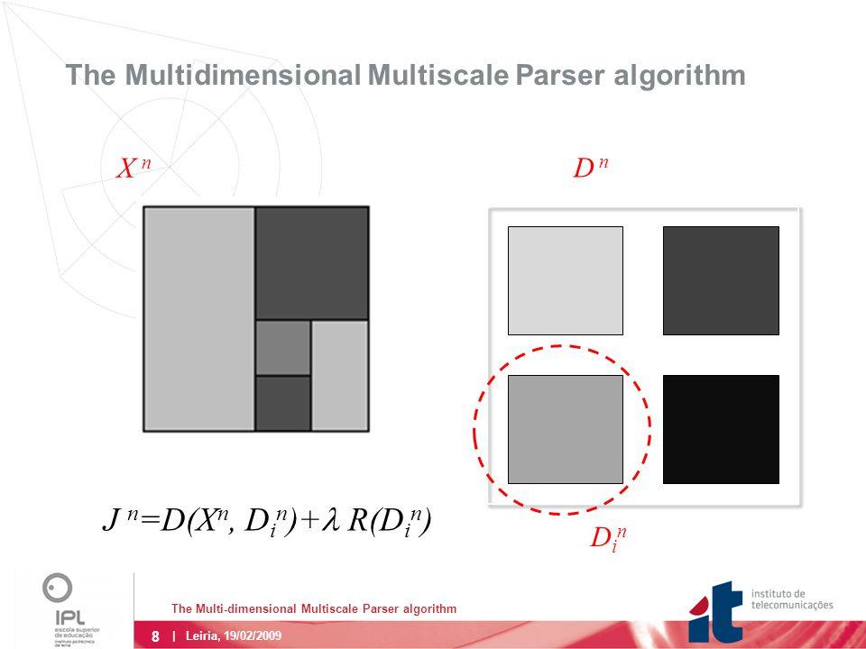 8 The Multi-dimensional Multiscale Parser algorithm | Leiria, 19/02/2009 The Multidimensional Multiscale Parser algorithm J n =D(X n, D i n )+  R(D i n ) D n X n DinDin