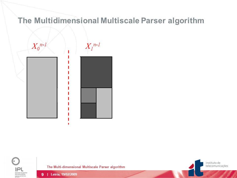 9 The Multi-dimensional Multiscale Parser algorithm | Leiria, 19/02/2009 The Multidimensional Multiscale Parser algorithm X 0 n-1 X 1 n-1