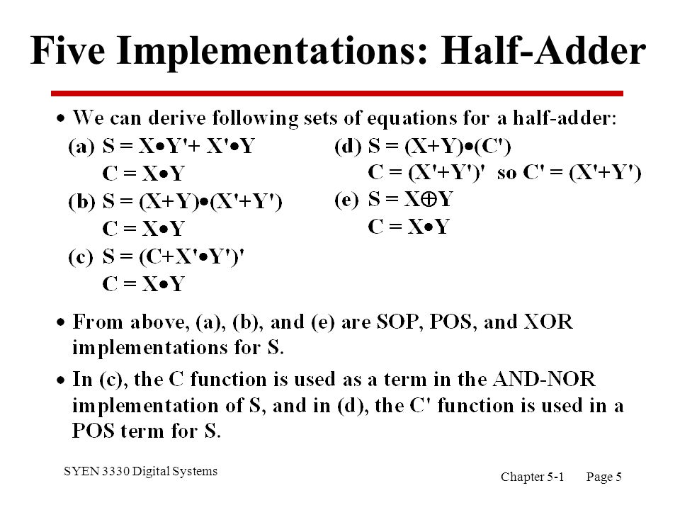SYEN 3330 Digital Systems Chapter 5-1 Page 6 Implementations: Half-Adder