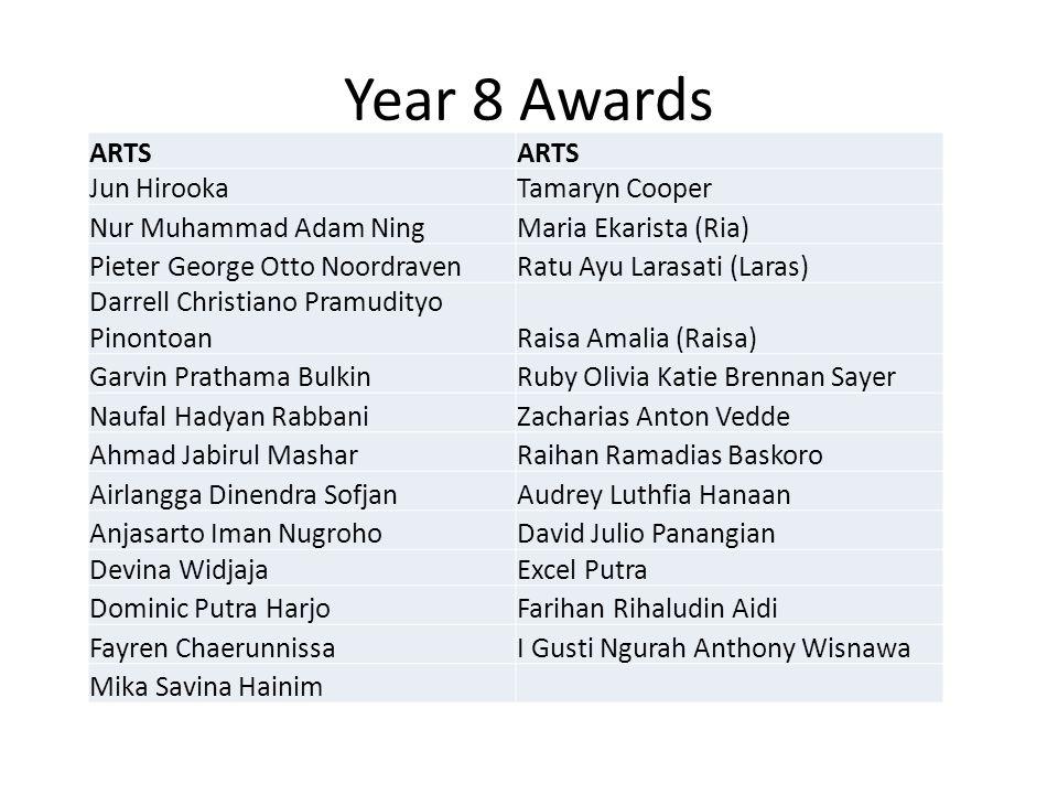 Year 8 Awards ARTS Jun HirookaTamaryn Cooper Nur Muhammad Adam NingMaria Ekarista (Ria) Pieter George Otto NoordravenRatu Ayu Larasati (Laras) Darrell