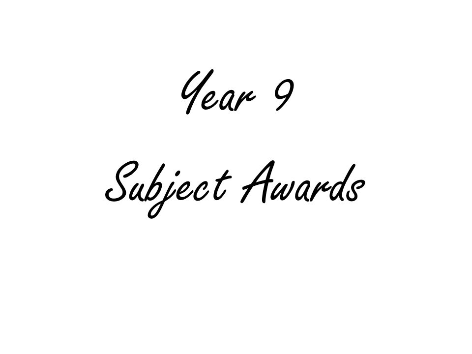 Year 9 Subject Awards