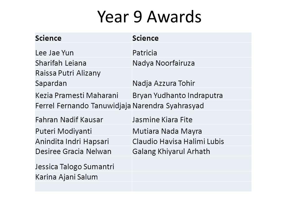 Year 9 Awards Science Lee Jae YunPatricia Sharifah LeianaNadya Noorfairuza Raissa Putri Alizany SapardanNadja Azzura Tohir Kezia Pramesti MaharaniBrya