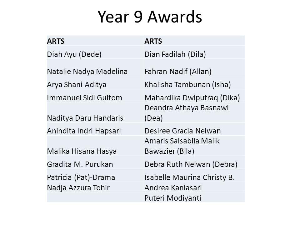 Year 9 Awards ARTS Diah Ayu (Dede)Dian Fadilah (Dila) Natalie Nadya MadelinaFahran Nadif (Allan) Arya Shani AdityaKhalisha Tambunan (Isha) Immanuel Si