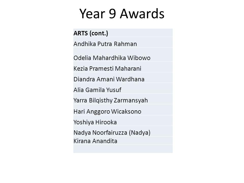 Year 9 Awards ARTS (cont.) Andhika Putra Rahman Odelia Mahardhika Wibowo Kezia Pramesti Maharani Diandra Amani Wardhana Alia Gamila Yusuf Yarra Bilqis