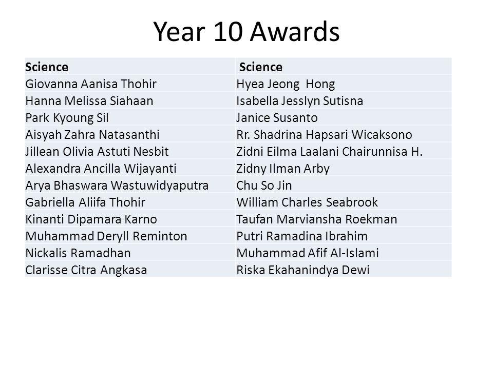 Year 10 Awards Science Giovanna Aanisa ThohirHyea Jeong Hong Hanna Melissa SiahaanIsabella Jesslyn Sutisna Park Kyoung SilJanice Susanto Aisyah Zahra