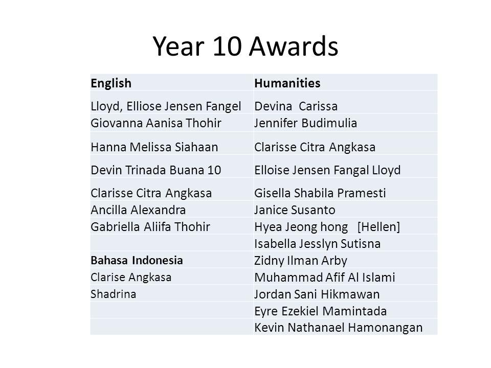 Year 10 Awards EnglishHumanities Lloyd, Elliose Jensen FangelDevina Carissa Giovanna Aanisa ThohirJennifer Budimulia Hanna Melissa SiahaanClarisse Cit
