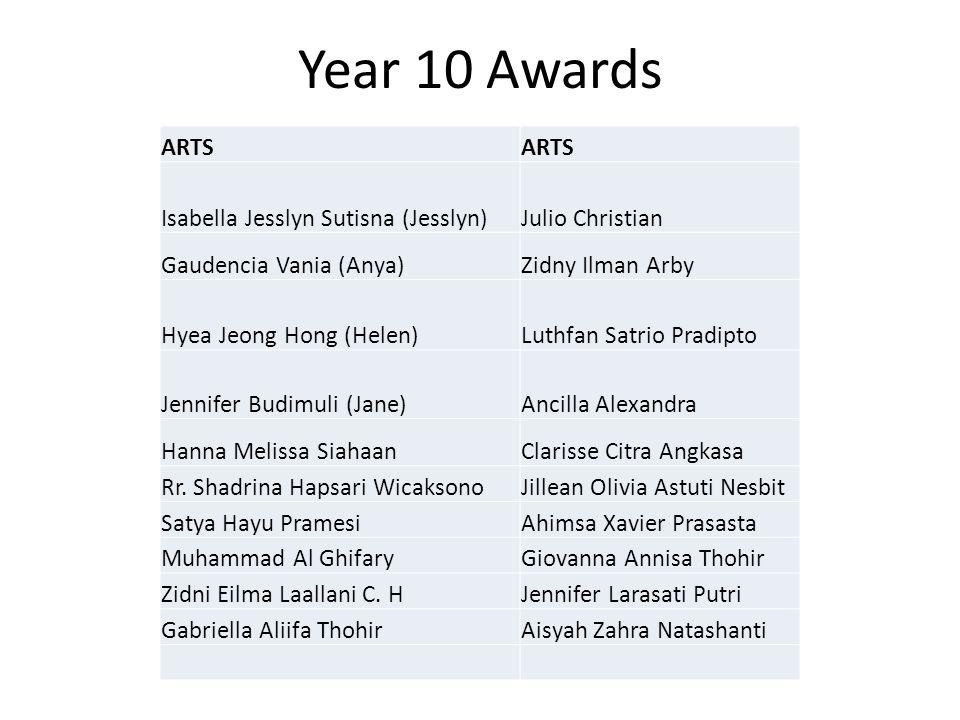 Year 10 Awards ARTS Isabella Jesslyn Sutisna (Jesslyn)Julio Christian Gaudencia Vania (Anya)Zidny Ilman Arby Hyea Jeong Hong (Helen)Luthfan Satrio Pra