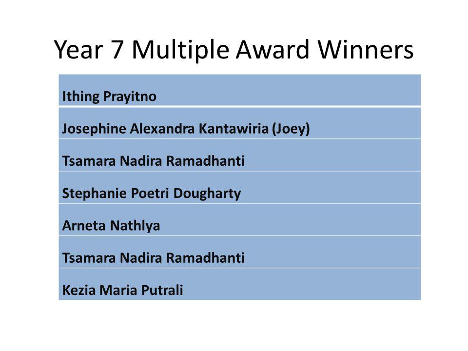 Year 7 Multiple Award Winners Ithing Prayitno Josephine Alexandra Kantawiria (Joey) Tsamara Nadira Ramadhanti Stephanie Poetri Dougharty Arneta Nathly