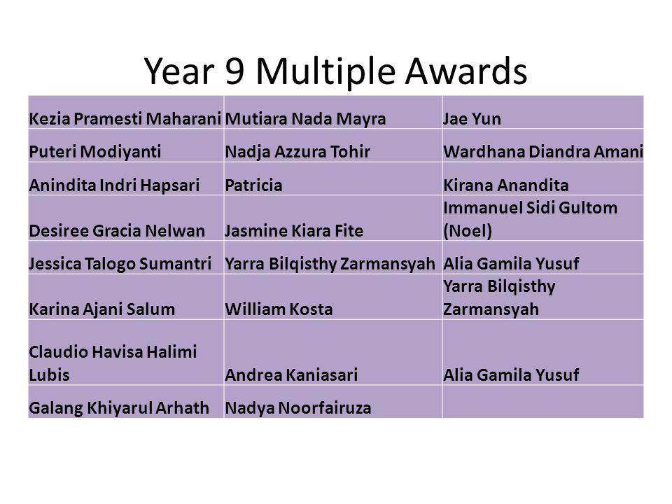 Year 9 Multiple Awards Kezia Pramesti MaharaniMutiara Nada MayraJae Yun Puteri ModiyantiNadja Azzura TohirWardhana Diandra Amani Anindita Indri Hapsar