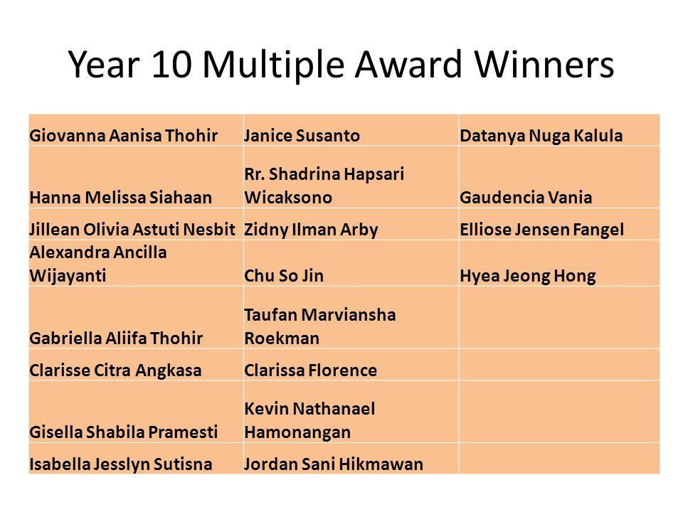 Year 10 Multiple Award Winners Giovanna Aanisa ThohirJanice SusantoDatanya Nuga Kalula Hanna Melissa Siahaan Rr. Shadrina Hapsari WicaksonoGaudencia V