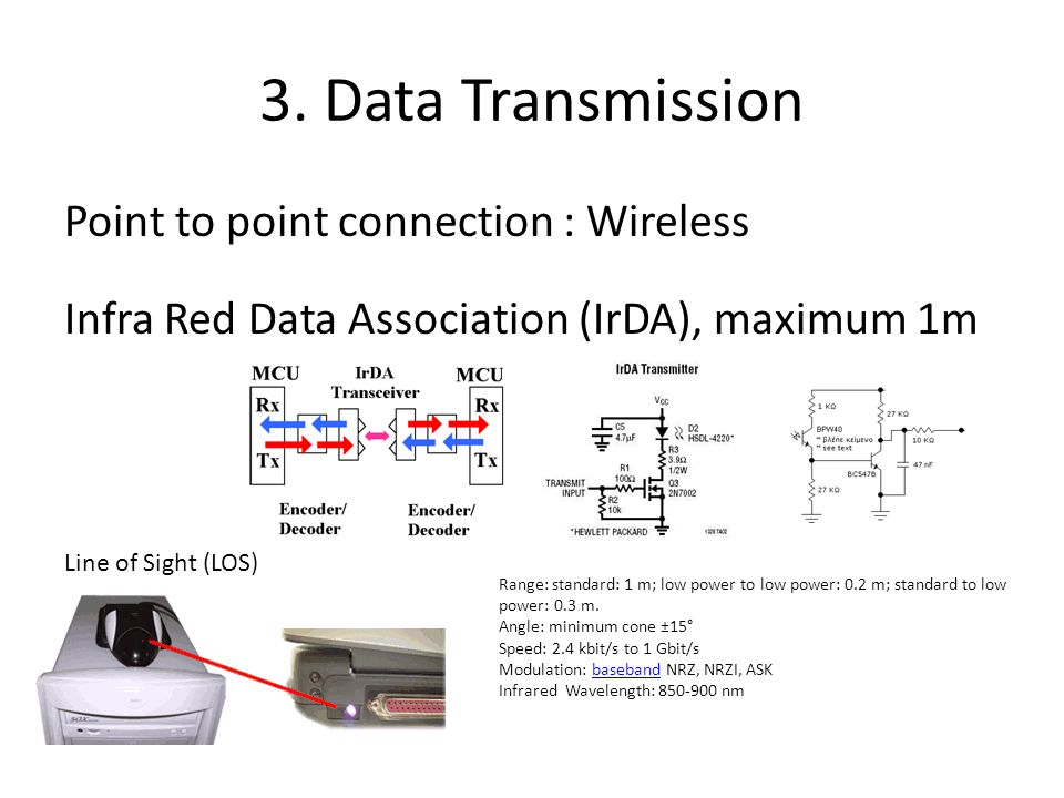 3. Data Transmission Point to point connection : Wireless Infra Red Data Association (IrDA), maximum 1m Line of Sight (LOS) Range: standard: 1 m; low