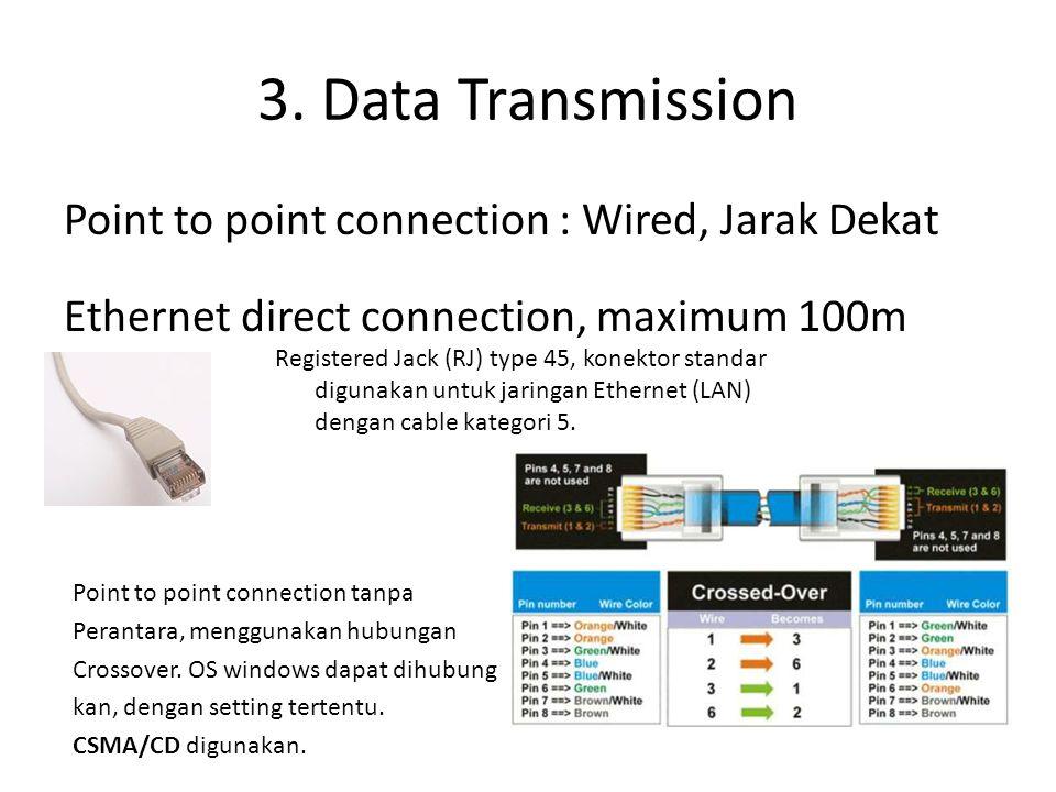 3. Data Transmission Point to point connection : Wired, Jarak Dekat Ethernet direct connection, maximum 100m Registered Jack (RJ) type 45, konektor st