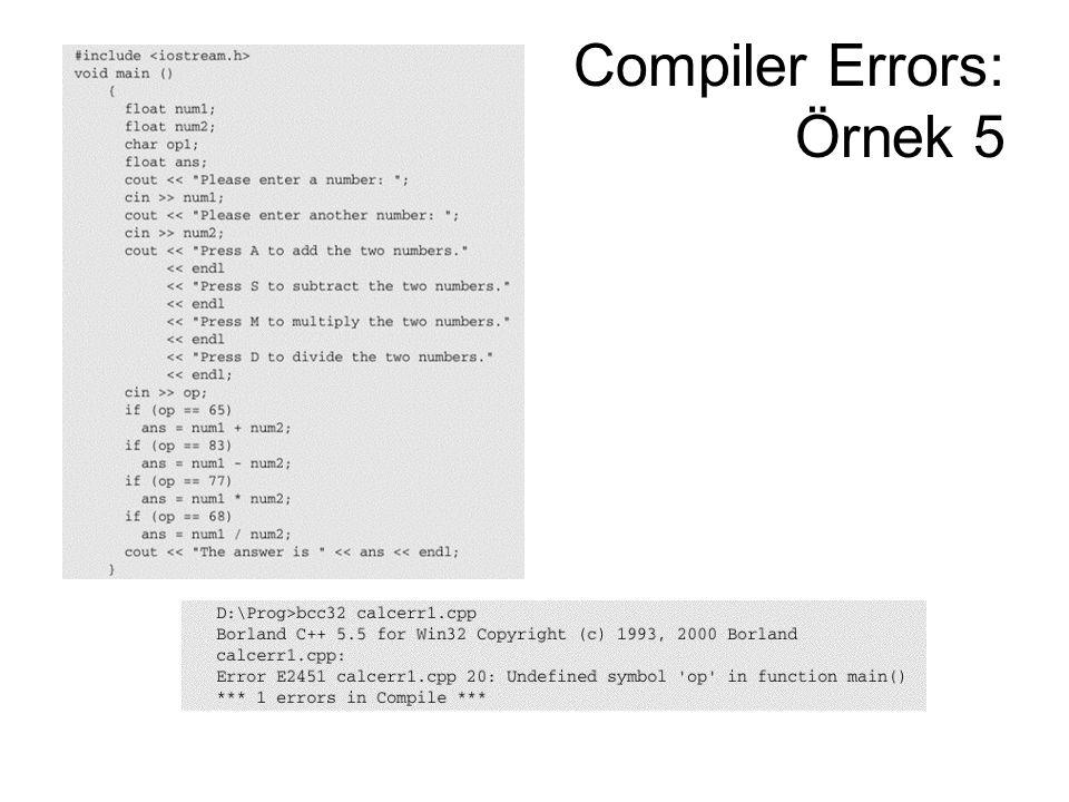 Compiler Errors: Örnek 5